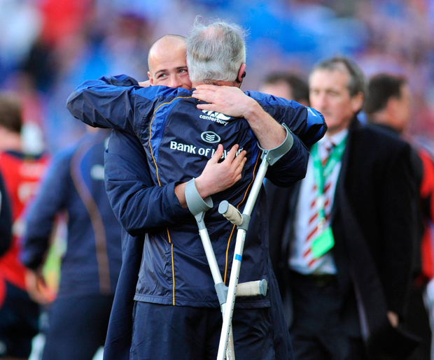 Embracing Felipe Contepomi after Leinster's 2009 Heineken Cup semi-final victory over Munster – a rivalry he enjoyed