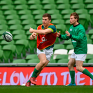 Luke McGrath in action during Ireland training with his Connacht counterpart Kieran Marmion with Ireland. SPORTSFILE