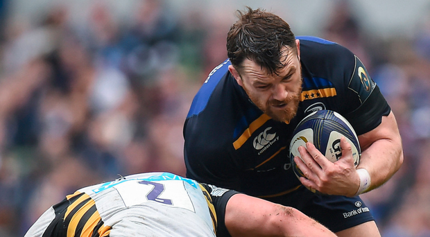 Cian Healy going shoulder to shoulder against Wasps. Photo: SPORTSFILE