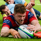 Clontarf's Michael Brown scores a try Picture: INPHO/Tom Beary