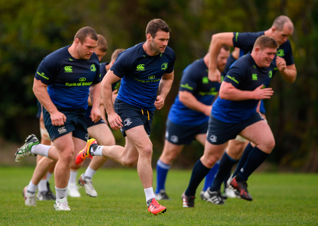 McFadden going through his paces with his Leinster team mates during training. Photo: SPORTSFILE
