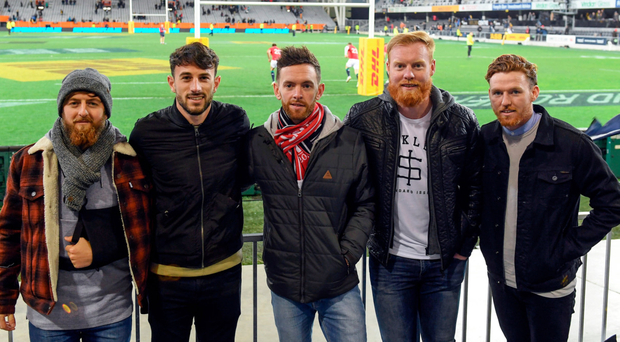 Southern United's Irish contingent – who have all relocated from Wexford FC – Andy Mulligan, Conor O'Keefe, Danny Furlong, Stephen Last and Danny Ledwith after the Lions defeat to the Highlanders in Dunedin on Tuesday. Photo: Sportsfile