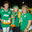 Pauline Tyrrell (left), Carol Miller and Jackie Crosbie prepare to support their daughters at UCD in Ireland's clash with France. Photo: Tony Gavin