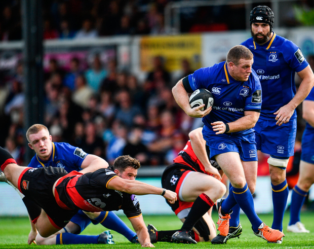 Seán Cronin looks to lead a break for Leinster during yesterday's Guinness PRO14 match at Rodney Parade in Newport. Photo: Ramsey Cardy/Sportsfile