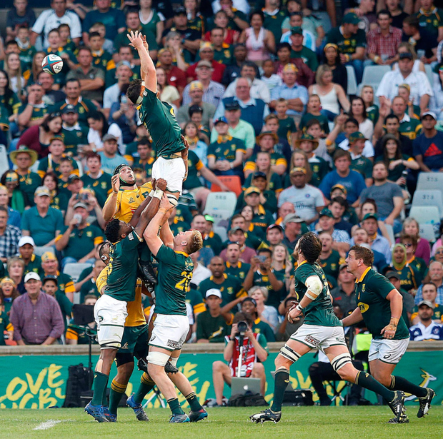 Franco Mostert misses a lineout ball during yesterday's clash between the Springboks and Australia. South Africa's national team may get away without adhering to quotas, but the provincial sides may not. Photo: AFP/Getty