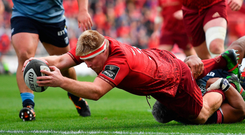 Munster prop John Ryan scores his side's second try against Cardiff Blues at Thomond Park Photo: Sportsfile