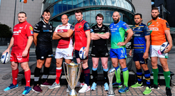 At last week's launch of the European Rugby Champions Cup and Challenge Cup for PRO14 clubs at the Convention Centre in Dublin, from left, Ken Owens of Scarlets, Ashley Back of Ospreys, Rory Best of Ulster, Peter O'Mahony of Munster, Stuart Hogg of Glasgow Warriors, John Muldoon of Connacht, Isa Nacewa of Leinster and Dean Budd of Benetton. Photo: Brendan Moran