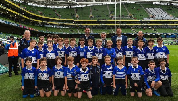 The U-12 squad who played a half-time match at Leinster's clash with Munster at the Aviva