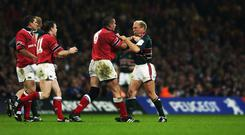 Alan Quinlan confronts Neil Back of Leicester after the infamous incident at the end of the 2002 Heineken Cup final which incensed Munster fans. Photo: Getty