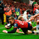 Andrew Conway scores Munster's second try in the European Champions Cup victory over Racing 92 at Thomond Park last night. Photo: Diarmuid Greene. Photo: Sportsfile