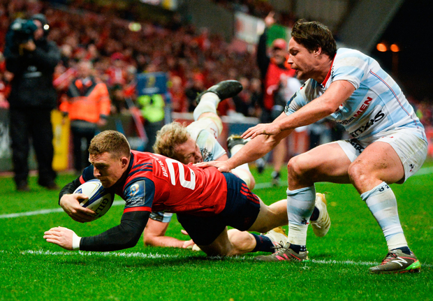 Andrew Conway dives over for the second try Photo: Sportsfile
