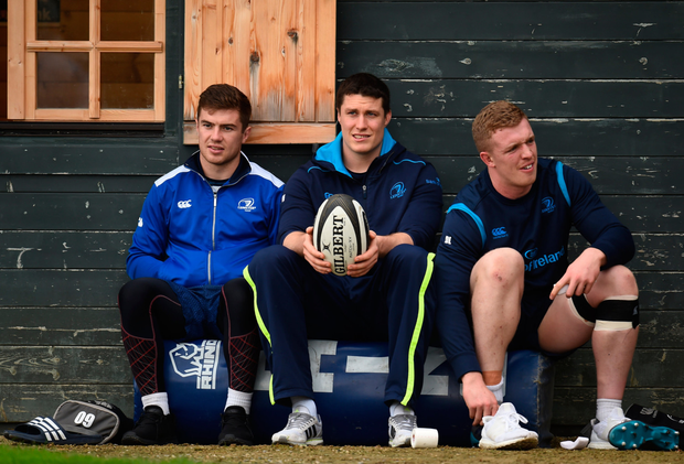 Luke McGrath, Mick Kearney, and Dan Leavy look on during training. Photo: Seb Daly/Sportsfile