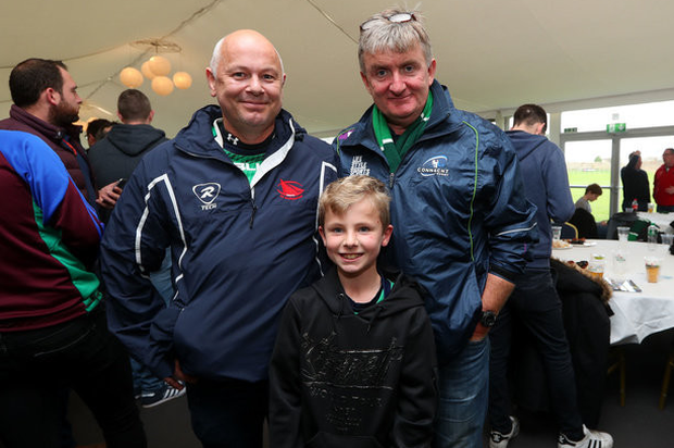 Brian Harte, Rory Harte and Johnny Feeney from Galway Bay RFC at the Worcester clash. Photo: INPHO