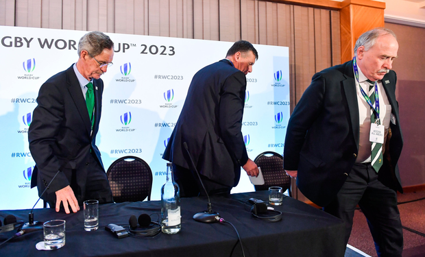 IRFU president Philip Orr, chief executive Philip Browne and Ireland 2023 Oversight Board chairman Dick Spring after last week's announcement in London Photo: Brendan Moran/Sportsfile