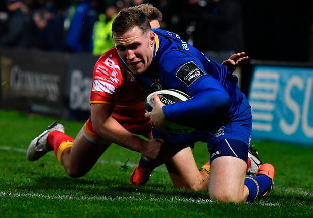 Rory O'Loughlin, pictured here scoring Leinster's eighth try against Dragons, says competition is intense. Photo: Sportsfile