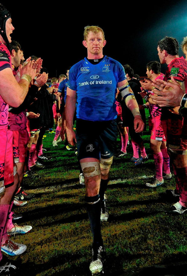 Leo Cullen is applauded off the pitch in Sandy Park after Leinster victory over Exeter on their last visit in 2013. Photo: Sportsfile