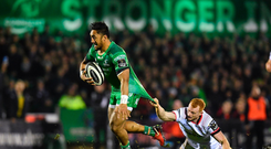 Bundee Aki on his way to scoring Connacht's second try at the Sportsground despite the efforts of Ulster's Peter Nelson. Photo by Sam Barnes/Sportsfile