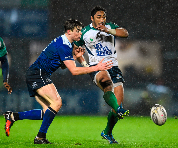 Garry Ringrose and Bundee Aki will battle it out again at the RDS today Photo: Sportsfile