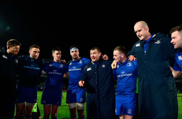 Leinster captain Jack McGrath speaks to his team following the Guinness PRO14 Round 13 match between Leinster and Ulster at the RDS Arena in Dublin. Photo: Ramsey Cardy/Sportsfile
