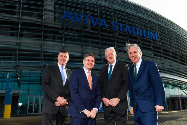 Philip Browne, CEO IRFU, John Quinlan, CEO Aviva Ireland, Martin Murphy, stadium director, and John Delaney, CEO FAI, at yesterday's announcement that Aviva are extending the naming rights of the Aviva Stadium until 2025. Photo: Sportsfile
