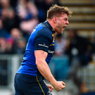 Jordi Murphy celebrates scoring Leinster's first try during their victory against Glasgow. Photo: David Fitzgerald/Sportsfile