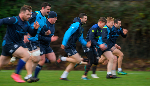 Leinster players including, from left, Cian Healy, James Ryan, Tadhg Furlong, Robbie Henshaw, Garry Ringrose, James Tracy and Dave Kearney. Photo: Brendan Moran/Sportsfile