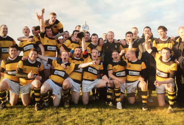 Newbridge celebrating victory in the Towns Seconds cup