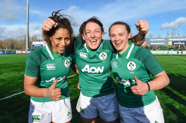 Sene Naoupu, Lindsay Peat and Michelle Claffey after Ireland's victory over Italy Photo: Sportsfile