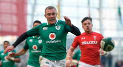 There were times against Wales when Keith Earls (above) looked like he was in danger of dislocating a shoulder, so wildly was he flapping his arms trying to get attention Photo: Sportsfile