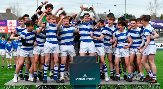 Blackrock College captain James Culhane lifts the trophy following his side's 24-14 victory over St Mary's College in the Leinster Schools Junior Cup final