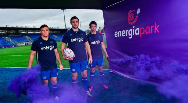 Jordan Larmour, Robbie Henshaw and Joey Carbery at the announcement of Leinster Rugby's 10-year naming rights partnership with Energia that will see Donnybrook Stadium renamed Energia Park