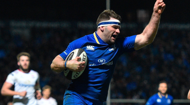 Fergus McFadden celebrates scoring his side's fourth try against Ulster in January. Photo: Sportsfile