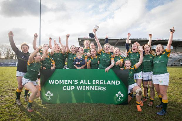 Railway Union women's side after winning the AIL cup. Photo: Cian Ryan