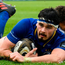 Max Deegan of Leinster scores his side's fourth try during the Guinness PRO14 Round 19 match between Leinster and Zebre at the RDS Arena in Dublin. Photo by Ramsey Cardy/Sportsfile