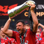 Tadhg Beirne of Scarlets celebrates after his team's victory over Munster in the PRO12 final in Dublin last year. Photo: Sportsfile