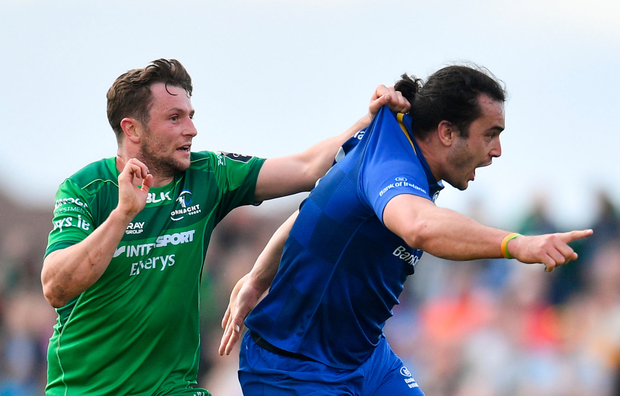 Connacht's Jack Carty, in action against James Lowe, stood out for the Westerners in their Leinster clash last weekend Ramsey Cardy/Sportsfile Photo: Sportsfile