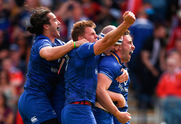 Jack Conan (right) celebrates with James Lowe, Jordi Murphy and Devin Toner after scoring Leinster's try last week. Photo: Stephen McCarthy/Sportsfile