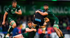 Johan Meyer of Zebre is tackled by Shane Delahunt of Connacht, left, and Colby Fainga'a of Connacht during the Guinness PRO14 Round 2 match between Connacht and Zebre at The Sportsground in Galway. Photo by Harry Murphy/Sportsfile