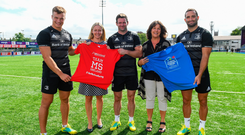 Sharon Dagg, CEO, Down Syndrome Centre, and Ava Battles, CEO, MS Ireland, pictured with Josh van der Flier, Fergus McFadden and Dave Kearney. Picture: Sportsfile