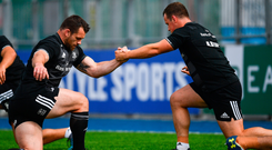Cian Healy, and Bryan Byrne hard at work at squad training in Energia Park. Photo: Sportsfile