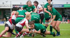 Laura Feely goes over for a try in Saturday's interpro win over Ulster