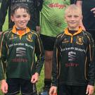 Clockwise from main: Fermoy RFC president Paddy O'Toole with the club's U-12s at a rugby blitz in Midleton