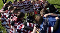 Tullow RFC listen to a team-talk during the Aviva mini-rugby festival which took place in Limerick last weekend. Photo: INPHO/Bryan Keane