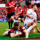 Sam Arnold of Munster goes over to score his side's fourth try against Gloucester at Thomond Park. Photo: Sam Barnes/Sportsfile