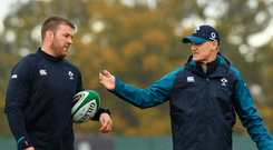 Ready for battle: Sean O'Brien taking instruction from Joe Schmidt at training. Photo: Sportsfile