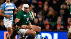 Ireland captain Rory Best is tackled by Javier Ortega Desio. Photo: Getty