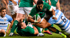 Bundee Aki goes over to score a try. Photo: Sportsfile