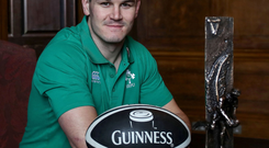 Star man: Johnny Sexton shows off his Guinness Rugby Writers of Ireland Player of the Year award. Photo: INPHO