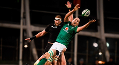 Behind the scenes: The Leinster coaches can take great credit for the form of Devin Toner against New Zealand last weekend. Photo: Sportsfile
