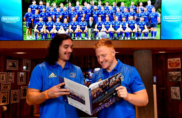 James Lowe and James Tracy get a good look at 'Double Delight' at the book's launch earlier this week SAM BARNES/SPORTSFILE